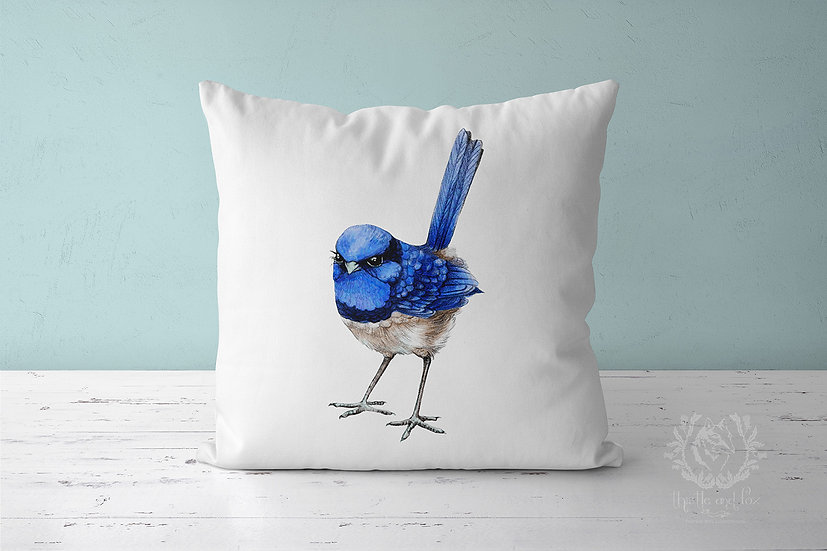 Splendid Blue Wren on White Throw Pillow, Australian Bird Cushion