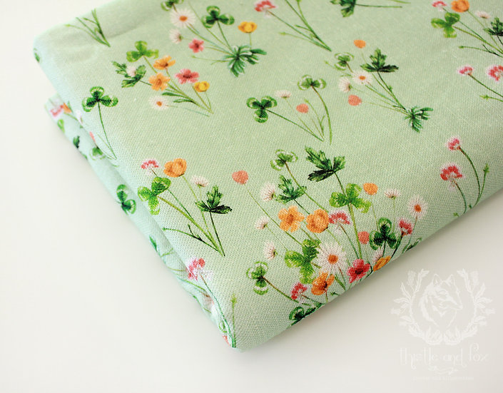 Meadow Wildflower Cot Quilt Green Linen Quilted Baby Blanket