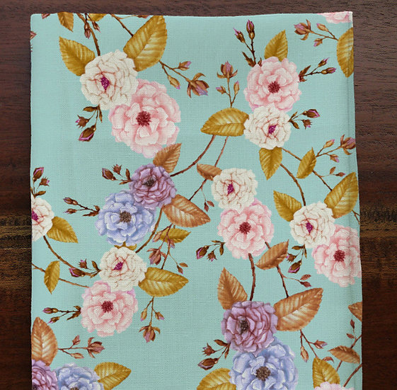 Fairy Tale Roses Fabric by the Metre, Golden Leaves, Pink Blue Blooms