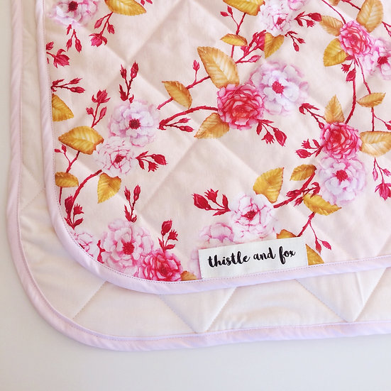 Linen Cot Quilt, Boho Rose Blossoms, Pink with Golden Leaves
