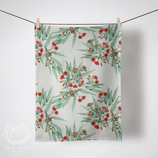 Linen Tea Towel, Eucalyptus Red & Green, 100% Australian Handmade