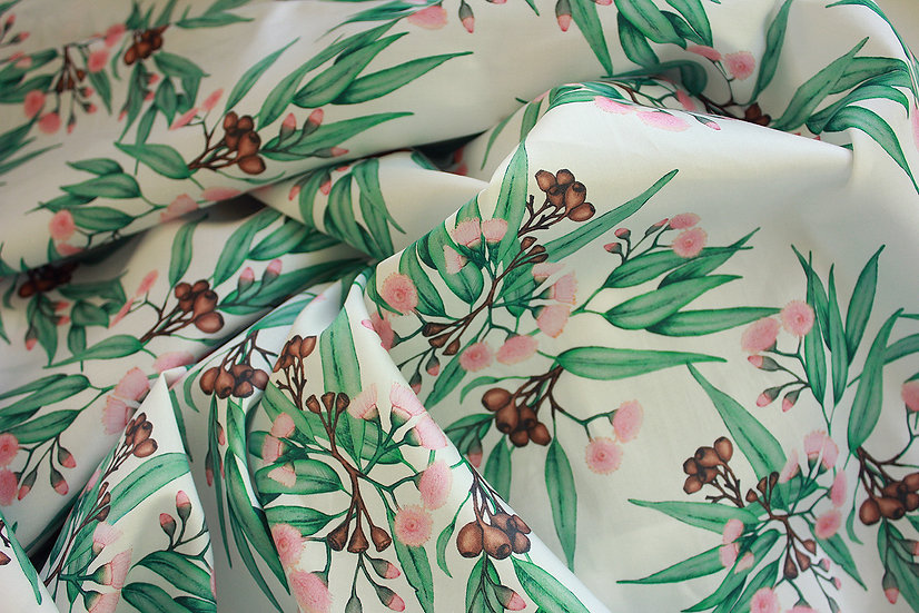 Eucalyptus Blush Pink Blossom, Printed Cotton Fabric by the Metre