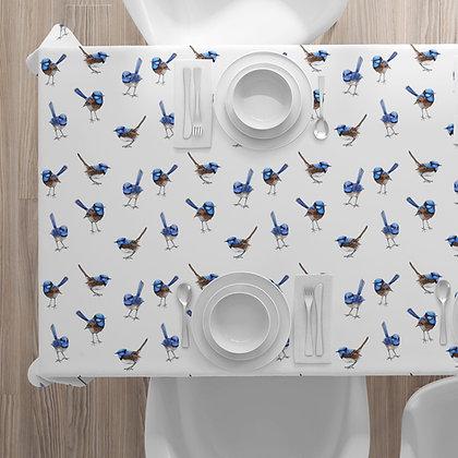 Tablecloth, Blue Wrens. Linen Cotton 100% Australian Handmade