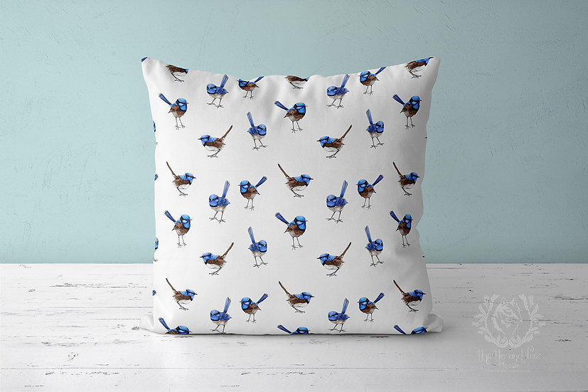Blue Wrens Throw Pillow, Watercolour Australian Birds Cushion