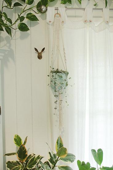 Macrame Plant Hanger - 'Spiral Cross' Wall Hanging Planter, Natural Cotton Rope