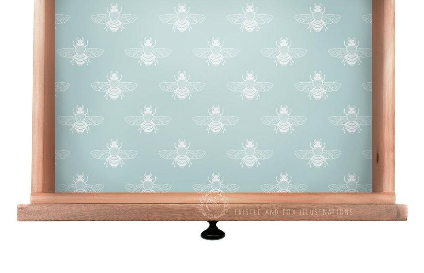 White Bee on Duckegg Blue Drawer Liner Paper or Wallpaper