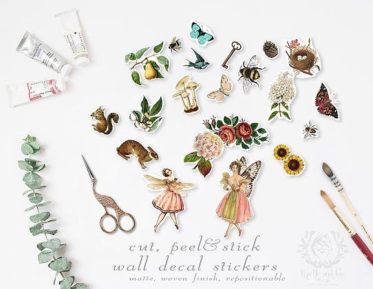 Repositionable Wall Sticker Set 'Woodland Fairies' Vintage Watercolour