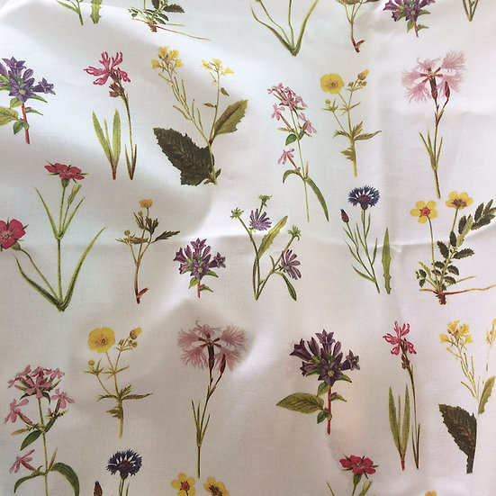 Vintage Wildflowers Fabric Floral Botanical Cotton
