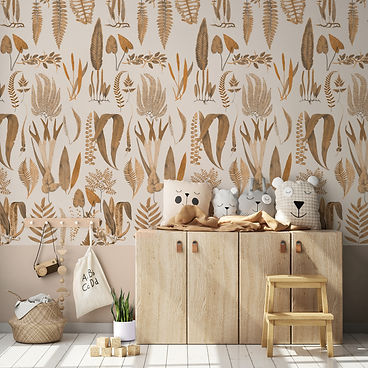 Wallpaper Kids Bedroom Ferns Sepia XL.jp