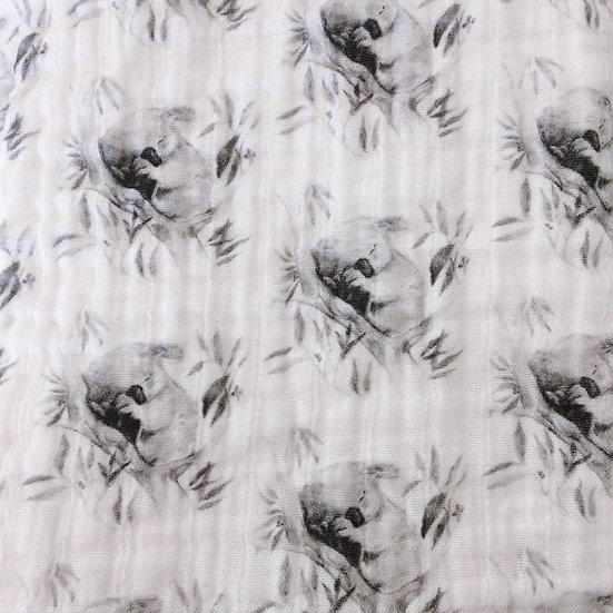 Organic Cotton Muslin Sleepy Koala Baby Blanket