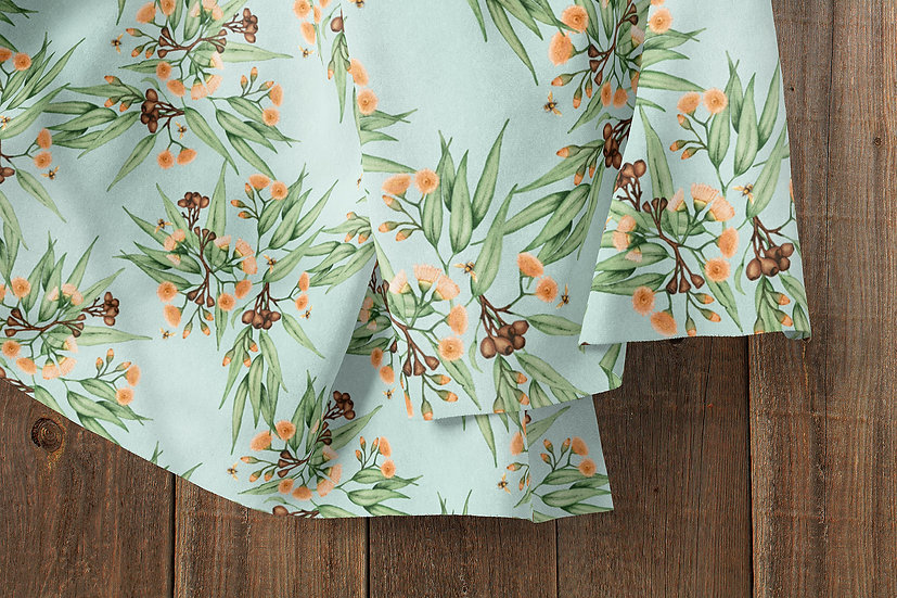 Orange Blossoms & Bees Eucalyptus Fabric by the Metre, Printed in Australia