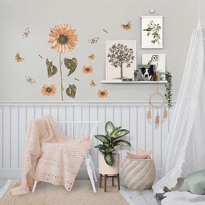 Giant Sunflower Wall Sticker Set, Repositionable Decals