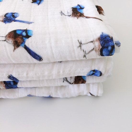 Organic Muslin Swaddle Blue Wrens Baby Blanket
