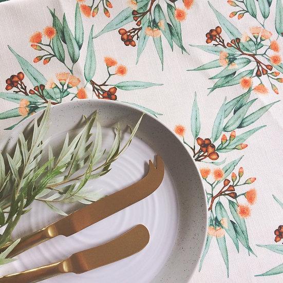 Tablecloth, Eucalyptus Gum Blossom in Orange