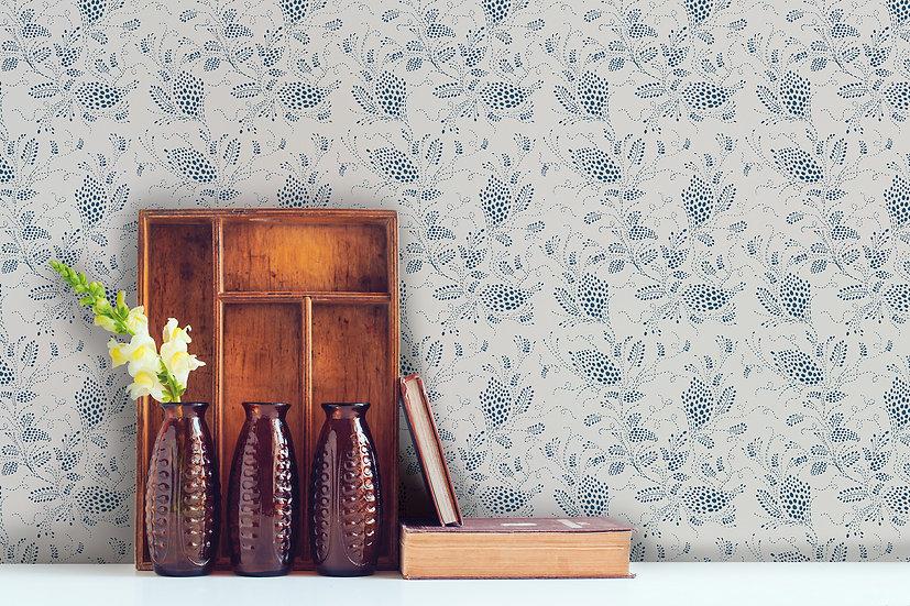Vintage Inspired Botanical Wallpaper, Enamel Blue and Natural Linen
