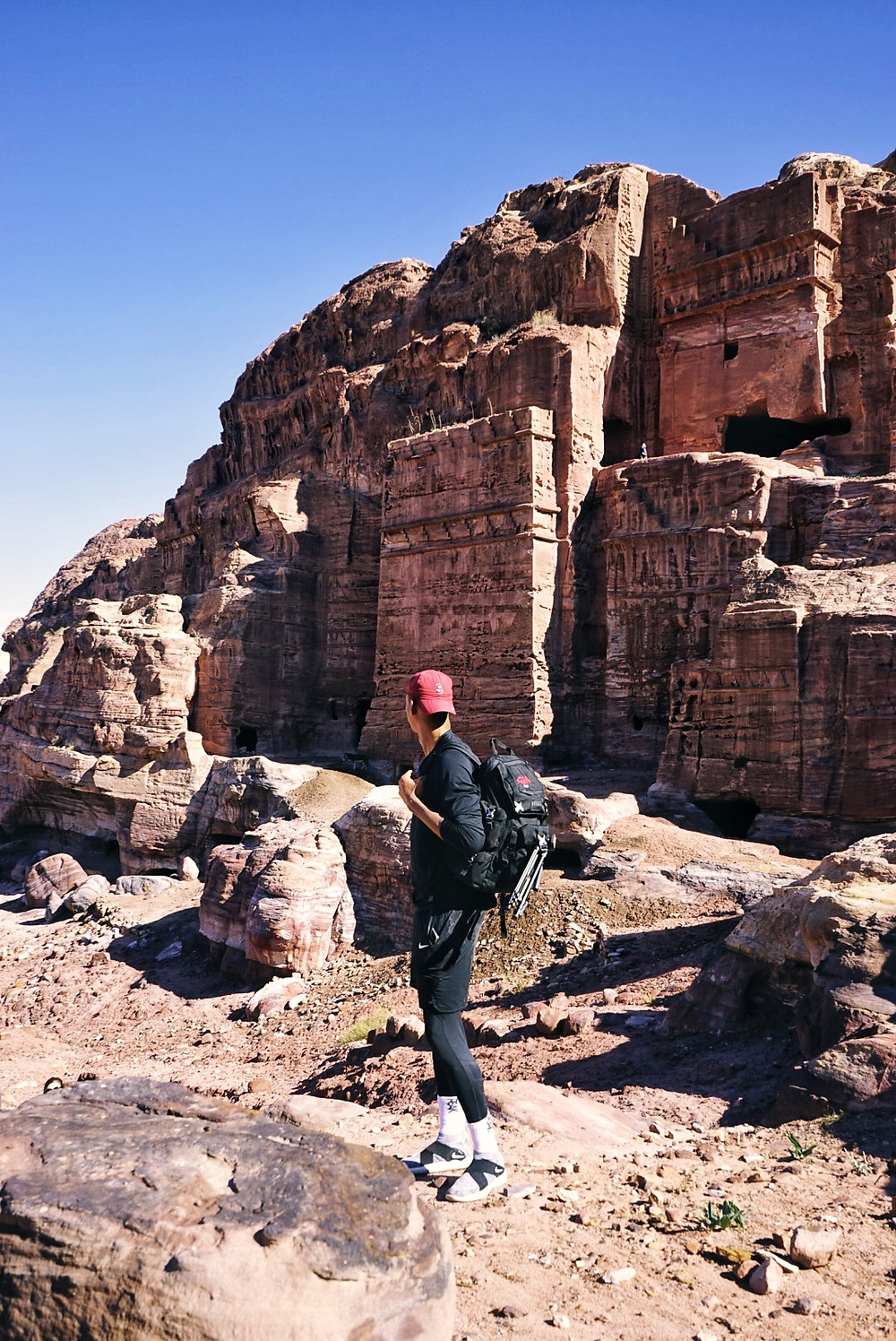 Hike to the Royal Tombs in the ancient city of Petra, Jordan.