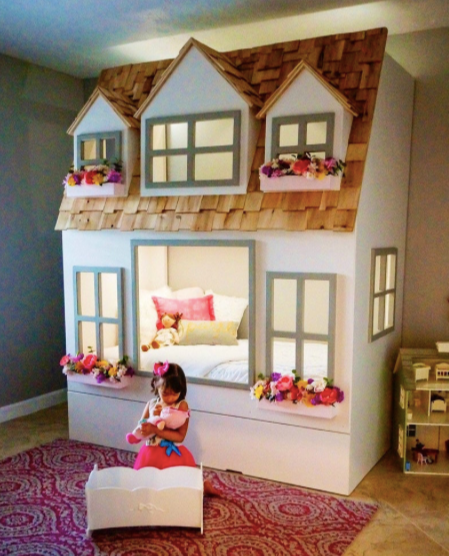 Beautifully crafted little girls playhouse and bed