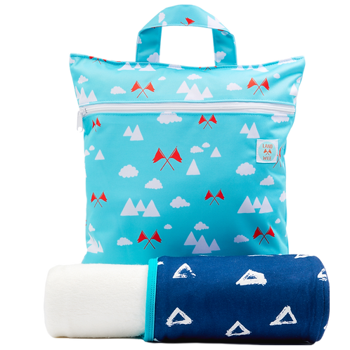 Kids Blue Triangle Hooded Towel and Reusable Bag Set