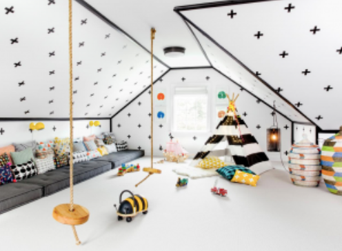Swiss Cross Wall Decals, Monochrome color palette, indoor rope swings, and pillows galore