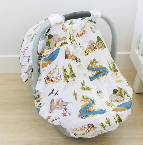 Wyoming Collection Muslin Car Seat Cover