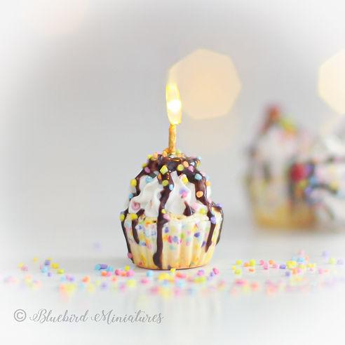 Confetti Cupcake Charm by Bluebird Miniatures