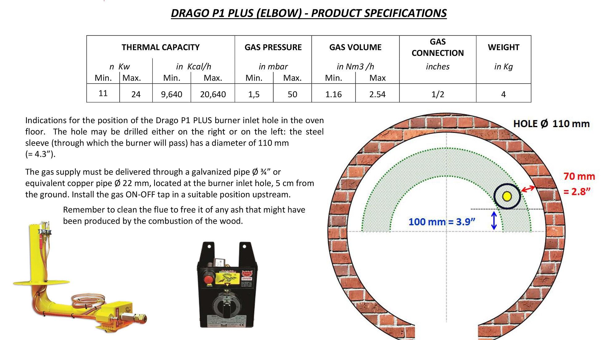Avanzini gas burner - Drago P1,P1 plus and P2