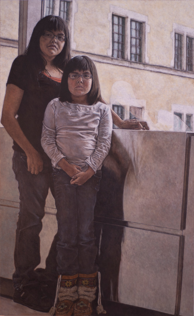 Jessica Paul & her daughter M.J.; Skywalk, University of Saskatchewan