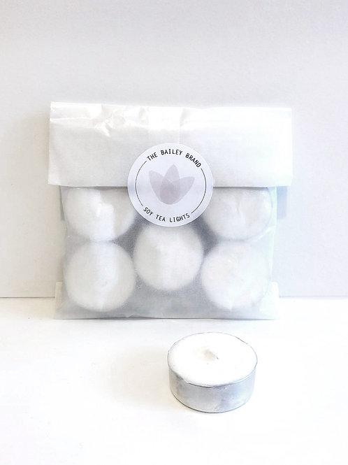 Unscented Soy Tea Lights Pack of 6
