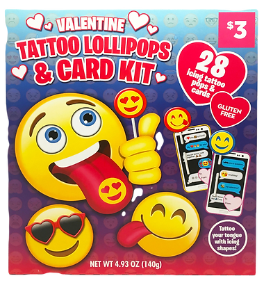 Emoji 28ct Tattoo Pop & Card Kit Classroom Exchange Kit