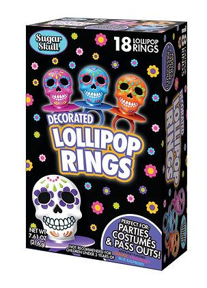 Sugar Skull 18ct Decorated Lollipop Rings