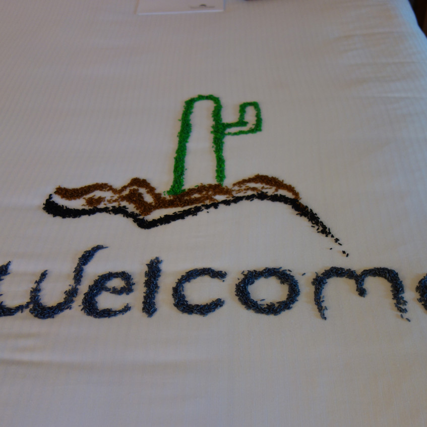 Welcome design made with colored rice