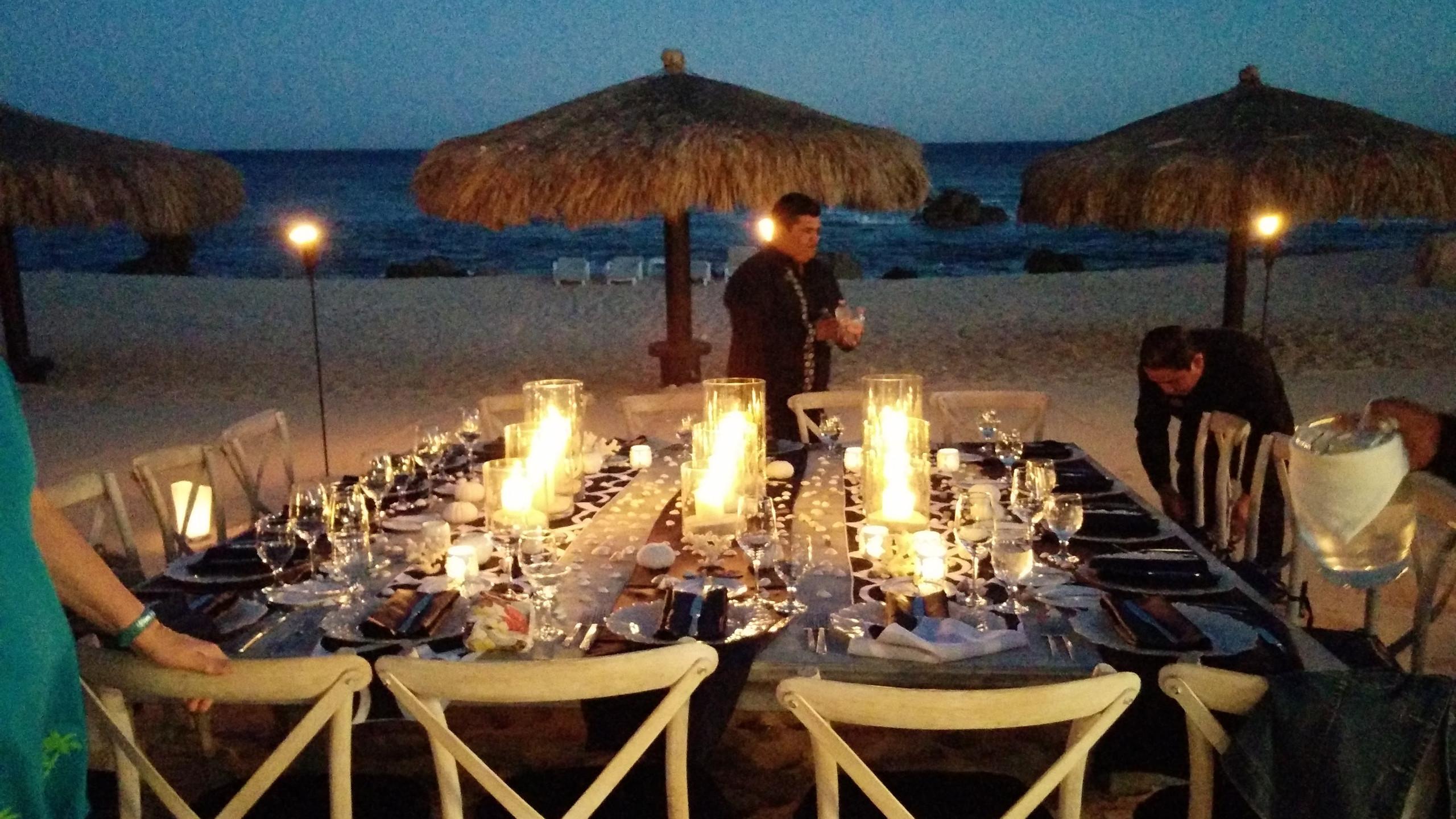 Our final dinner on the beach