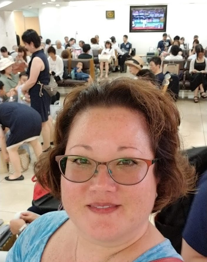 Monica waiting in the Shinkansen area