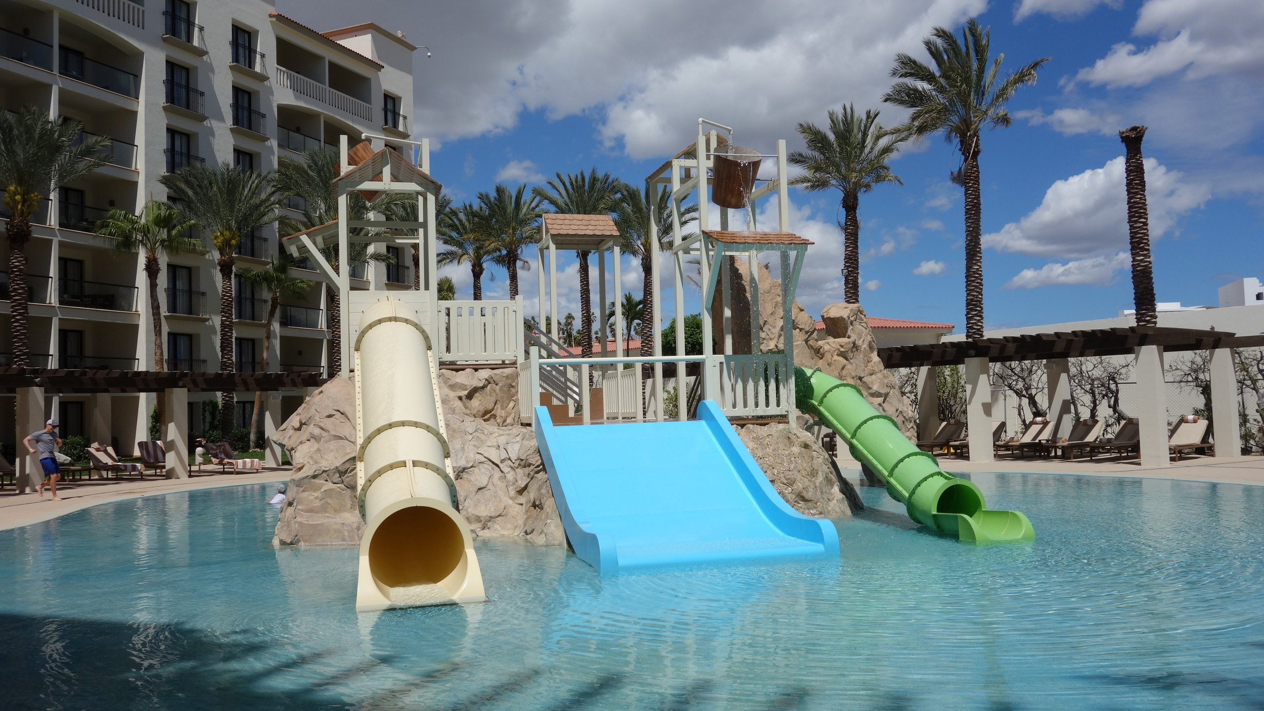 The kids area is on one side of the resort with a fun waterpark.