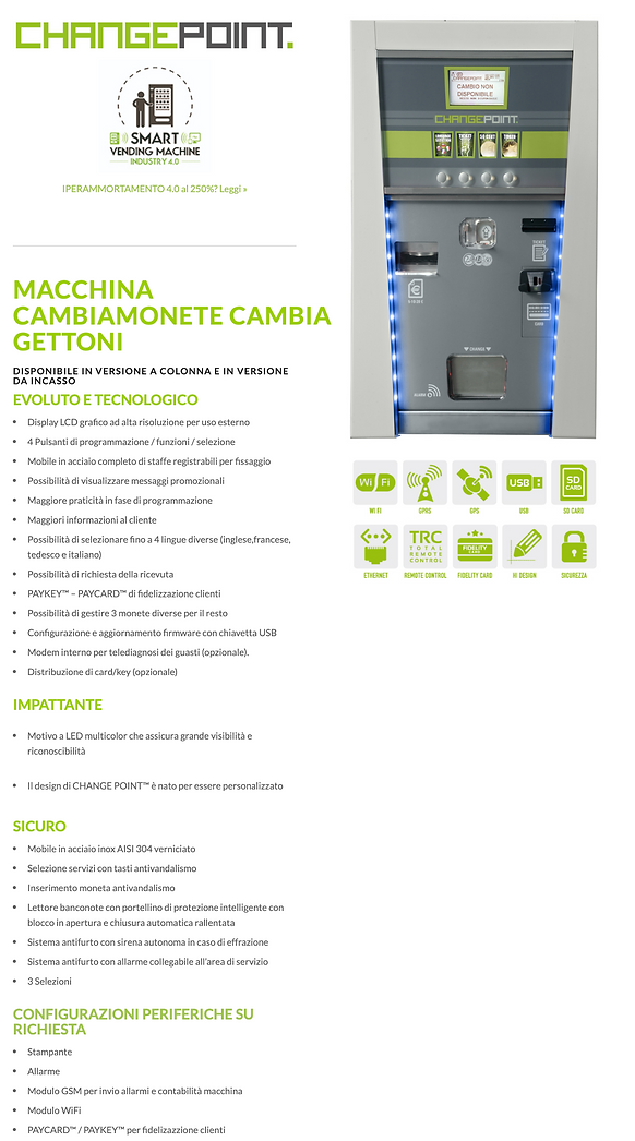CAMBIAMONETE EROGATORE DI GETTONI E CARD/TAG RICARICA FIDELITY E RENDIRESTO SELF SERVICE  CHANGE POINT MICROHARD