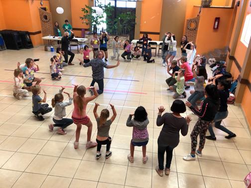 Performers practicing their pantomime skills