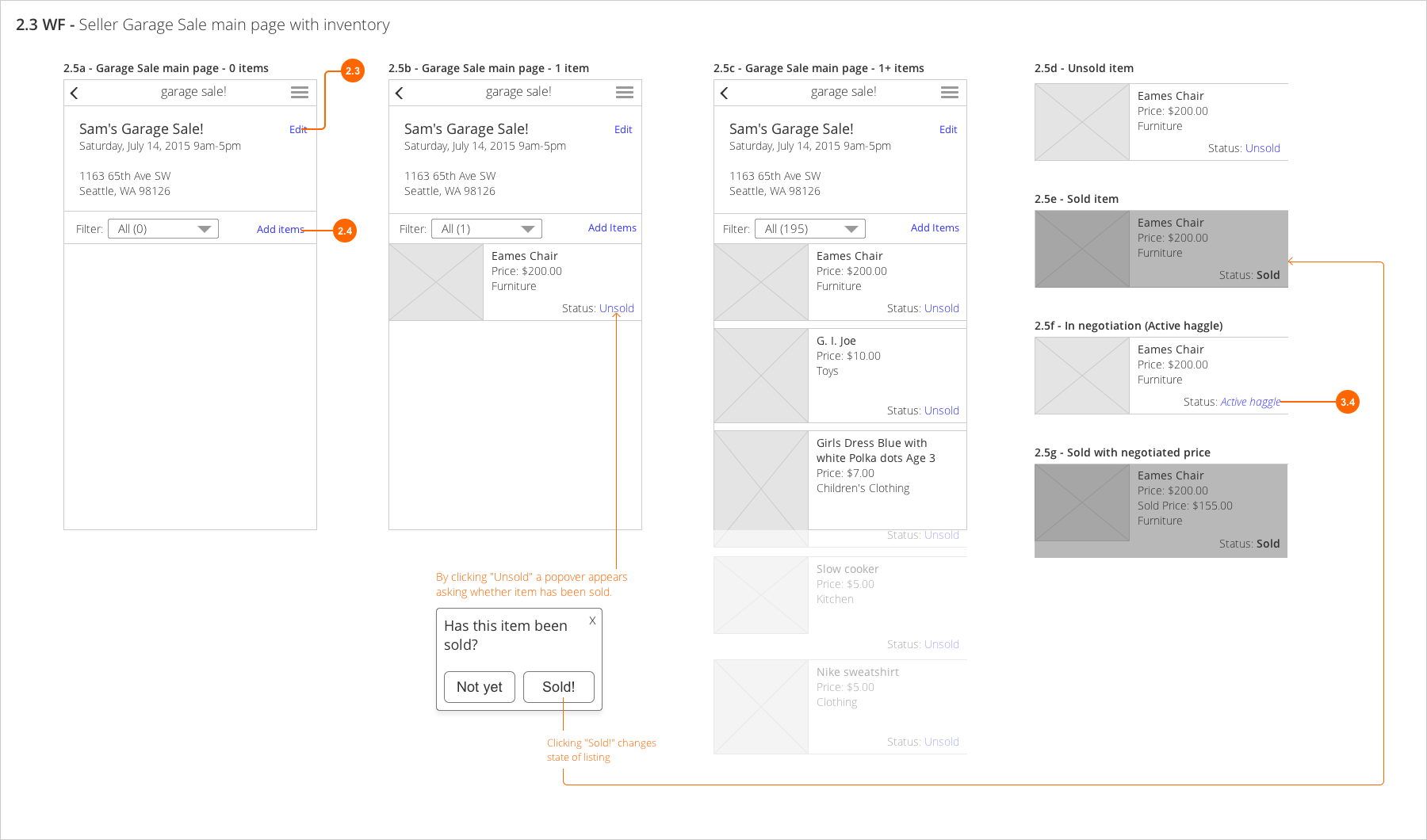 List display Wireframes