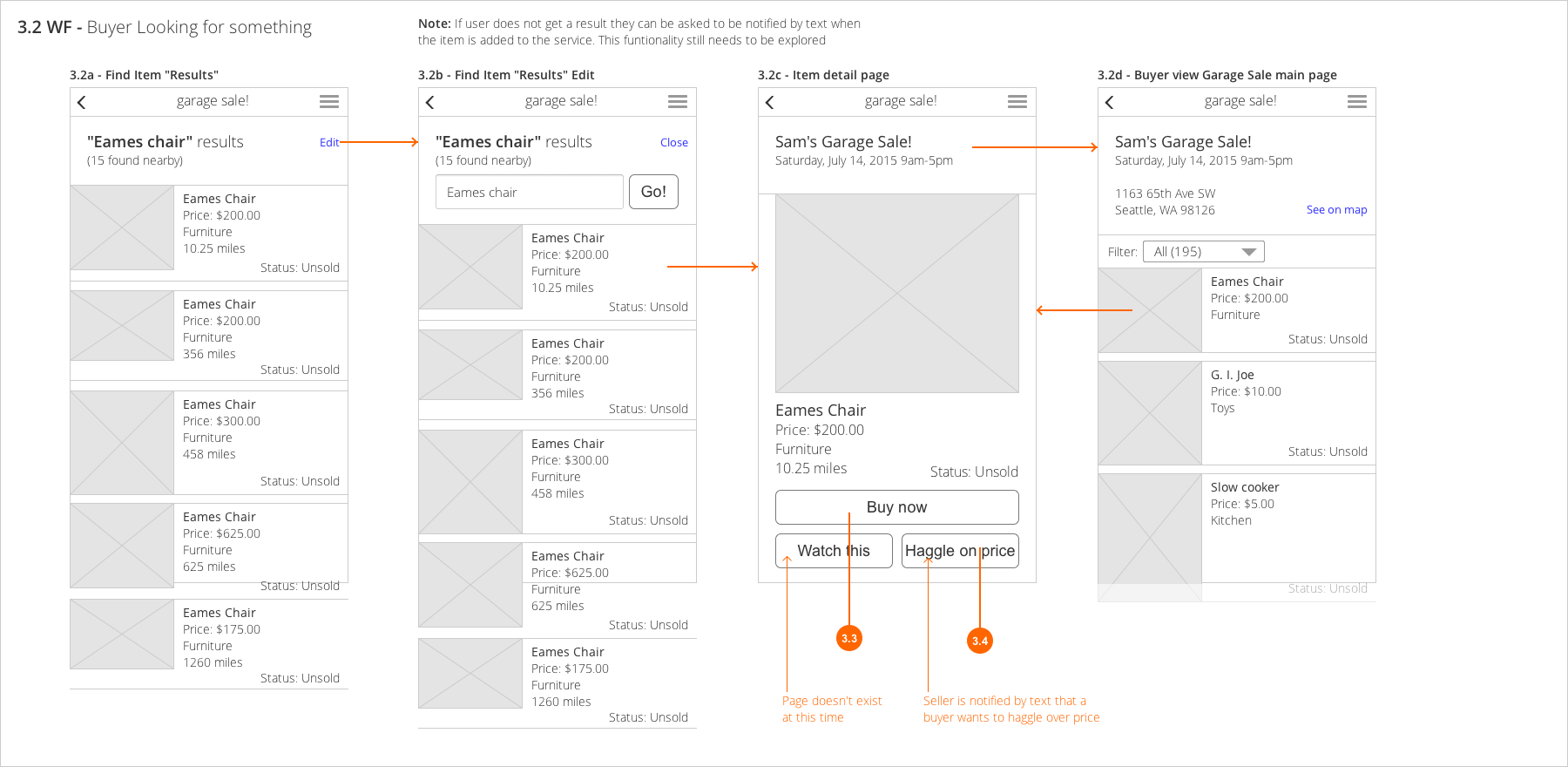 Buyer Search Wireframes