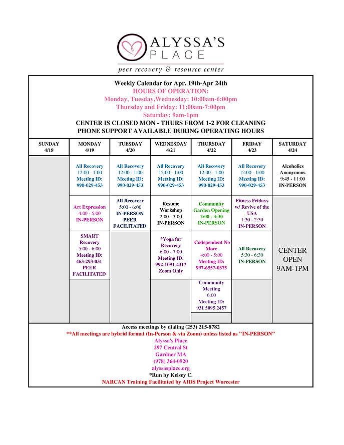 Weekly Calendar for Apr 19th- Apr 24th-p
