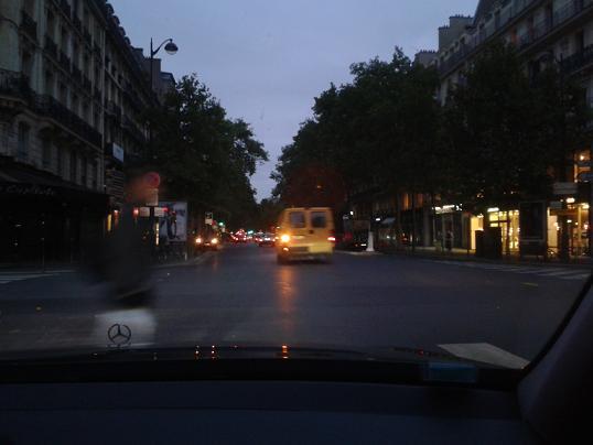Driving through Paris at Night