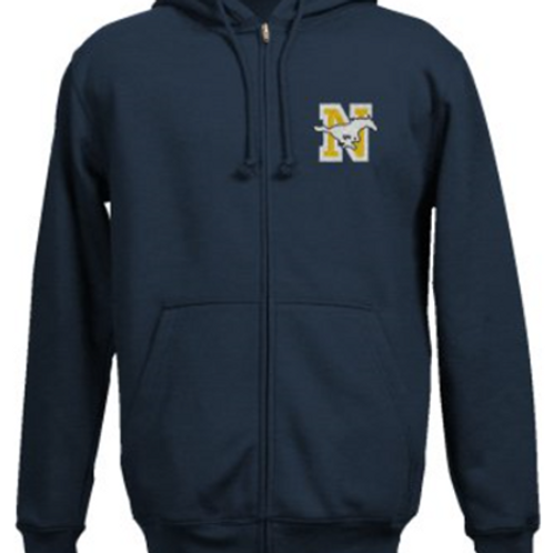 Embroidered Zipper Hoodie -Navy