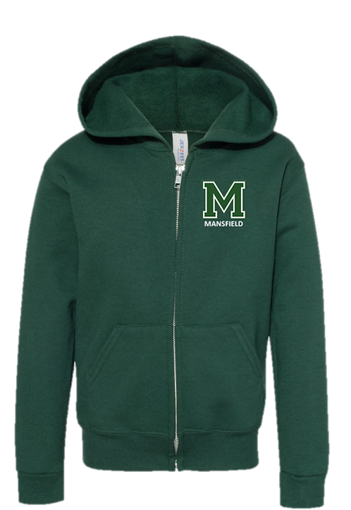 Youth & Adult - Forest Green - Zipper Hoodie - JERZEES - NuBlend