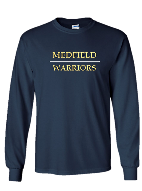 Youth & Adult - Medfield Warriors - Navy Long Sleeve T-Shirt - Ultra Cotton