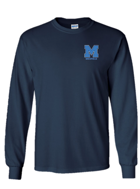 Youth & Adult - Navy Long Sleeve T-Shirt - Ultra Cotton