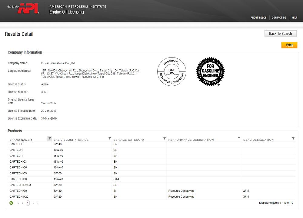 CARTECH API認證