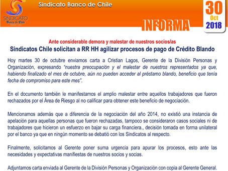 Sindicatos Chile solicitan a RR HH agilizar procesos de pago de crédito Blando