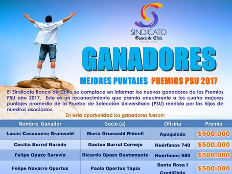 GANADORES MEJORES PUNTAJES PREMIOS PSU 2017