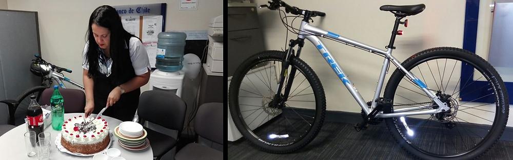 Funcionarios de Oficina Centro de Justicia y dirigentes disfrutaron de una torta. A la derecha la nueva bicicleta del trabajador.