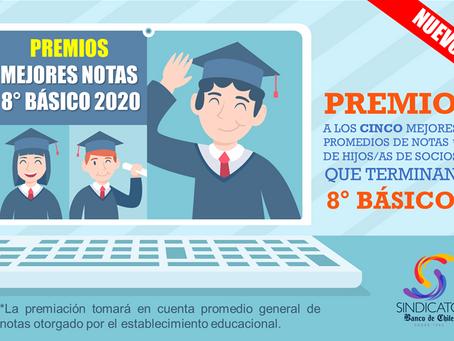 PREMIOS MEJORES NOTAS 8° BÁSICO 2020 - 2021 (Nuevo Beneficio).