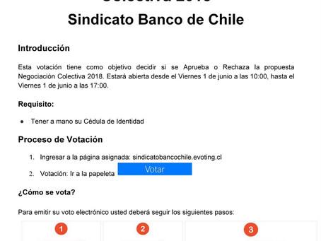 Procedimiento Votación Propuesta Negociación Colectiva 2018 - Sindicato Banco de Chile.